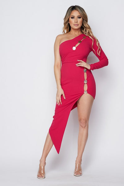 Fuchsia One Shoulder Slit Detail Body-con Dress
