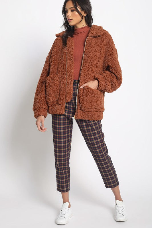 Rust Contrasting Fuzzy Sherpa Jacket
