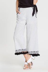 White and Black Tassel Detail Pants