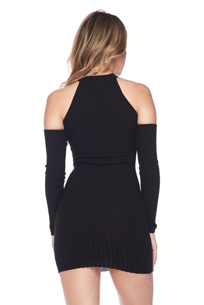 Black Keyhole Open Shoulder Body-con Dress