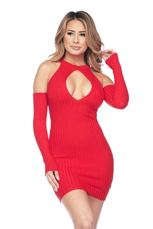 Red Keyhole Open Shoulder Body-con Dress