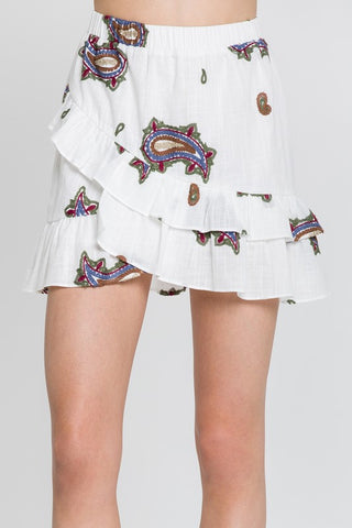 White Paisley Embroidered Mini Skirt