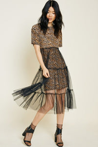 Leopard Print Tulle Skirt Dress