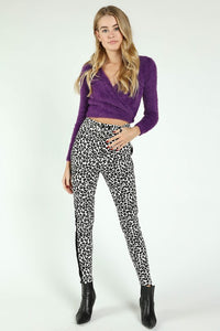 White and Black Leopard Pants