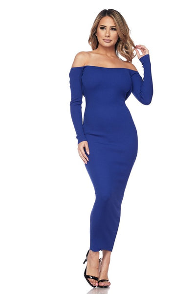 Royal Blue Open Back Off The Shoulder Dress