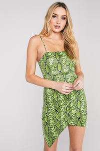 Lime Snake Asymmetrical Mini Dress