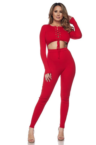 Red Front Cutout Knit Jumpsuit