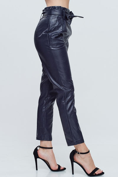 Navy Blue Faux Leather Tie Belt Pants