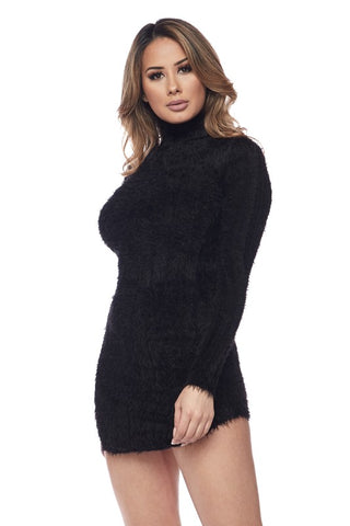 Black Furry Body-con Mini Dress
