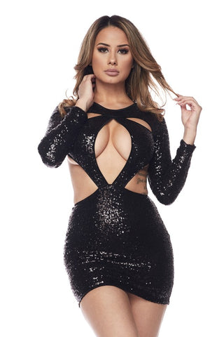 Black Sequin Cutout Body-con Dress