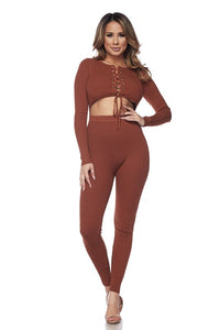 Rust Front Cutout Knit Jumpsuit