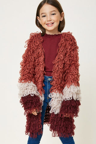Girls Burgundy Color Blocked Sweater Jacket