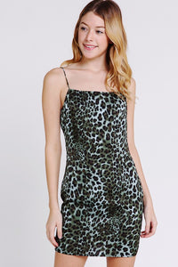 Green Leopard Print Slip Dress