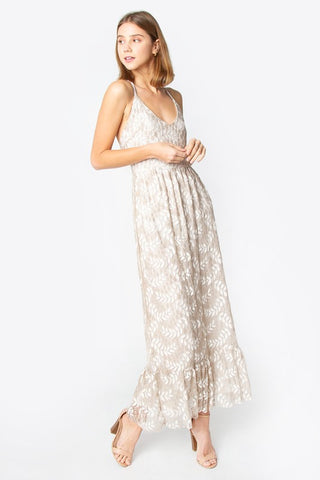 Tan Mermaid Lace Maxi Dress