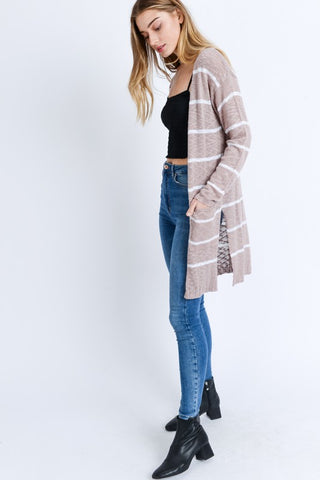 Mauve and White Long-line Striped Knit Cardigan