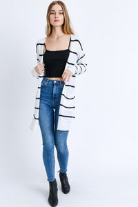 White and Black Long-line Striped Knit Cardigan