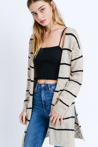 Tan and Black Long-line Striped Knit Cardigan