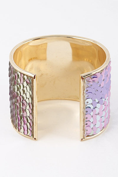 Bright Sequins Open Cut Bracelet