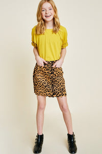 Girls Leopard Print Scalloped Hem Skirt