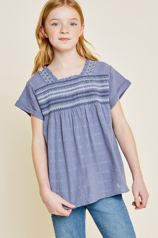 Girls Blue Embroidered Smocked Top