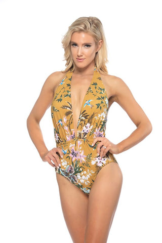 Sunshine Floral Print One Piece Swimsuit