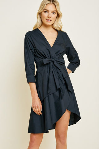 Black Asymmetrical Tie-Front Mini Dress