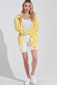 Yellow Loose Fit Long Cardigan Sweater