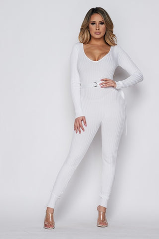White Long Sleeve Knit Jumpsuit