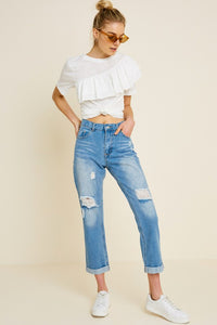 Distressed Roll-Cuff Boyfriend Fit Jeans