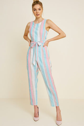 Tie Front Striped Print Jumpsuit
