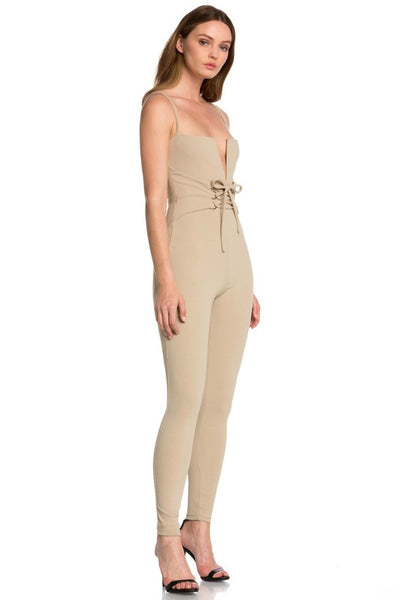 Beige Sleeveless Deep V Laced Front Jumpsuit