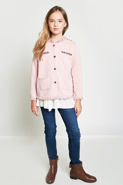 Girls Dusty Pink Quilted Jacket