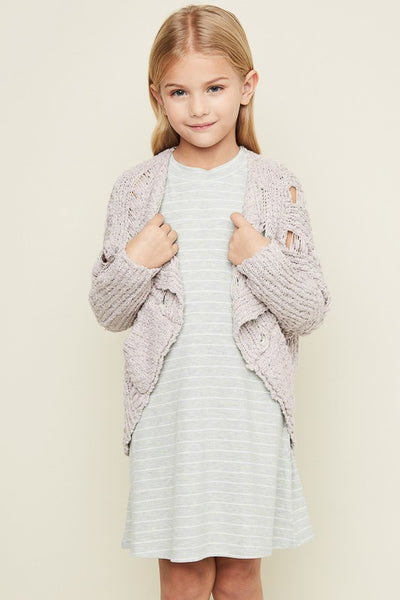 Girls Mauve Knitted Cardigan With Pockets