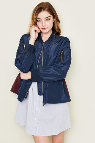 Navy Tie Back Cropped Jacket