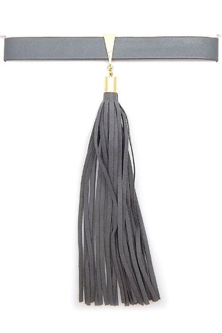 Dark Grey Tassel Choker Necklace - Nofashiondeadlines