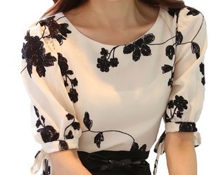 Embroidery Design Lady White Chiffon Blouse