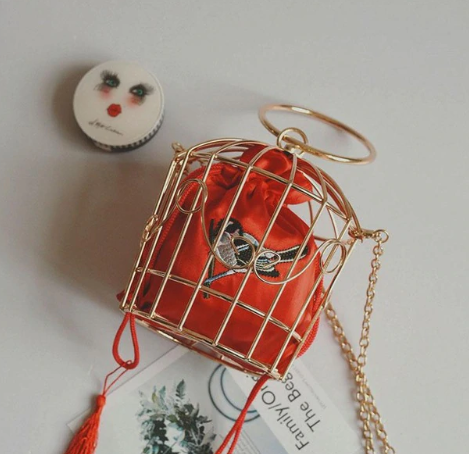 Birdcage Bag Clutch Metal Frame Embroidery Bucket Bird Cage Mini Bag
