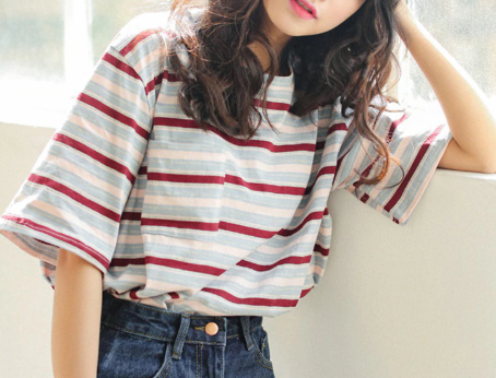 Women BF Striped Fashion Female Tee