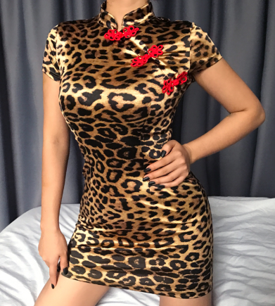 Leopard Party Dresses Chinese Style Turtleneck Bodycon