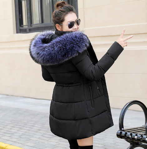 Autumn/ Winter Female Jacket Winter Coat Women Fake Fur Collar Warm Woman Parka Outerwear Down Jacket Coat