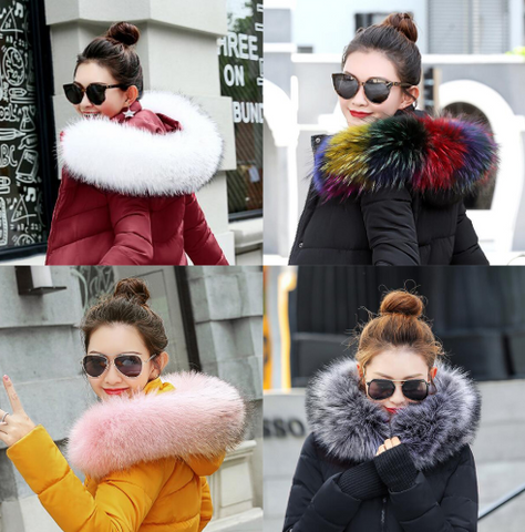 Fur Collar Artificial Raccoon Fur Women Scarves Winter Coat