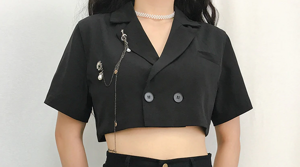 Single Button Cropped Coats And Jackets Women Short Sleeve Turn-Down Collar Summer Jacket Autumn