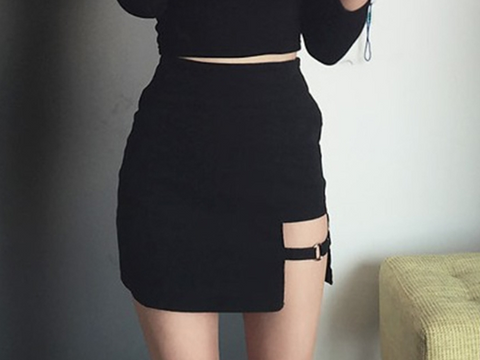 Korean High Waisted Cutout Skirt
