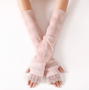 Summer Lace Solid Long Gloves Thin Breathable Sunscreen Driving Sleeve Mittens Elegant Fingerless