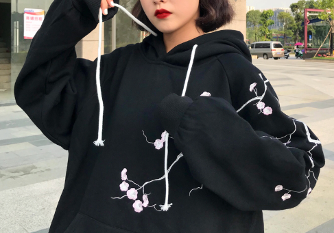 Korean Hooded Flower Embroidery Big Pocket Women Sweatshirt Pullover