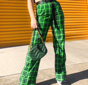 Plaid Straight High Waist Pants Streetwear Trousers
