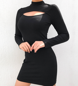 Black Solid Long Sleeve Dress Cut Out Dress Turtleneck