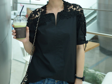 Hollow Out Flowers Cotton Lace Blouse