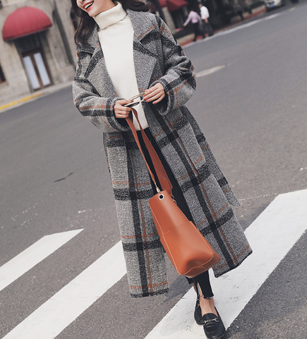 Korean Elegant Plaid Long Warm Turn-down Collar Coat