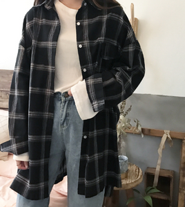 Plaid All-match Loose Long Sleeve BF Ulzzang Shirt